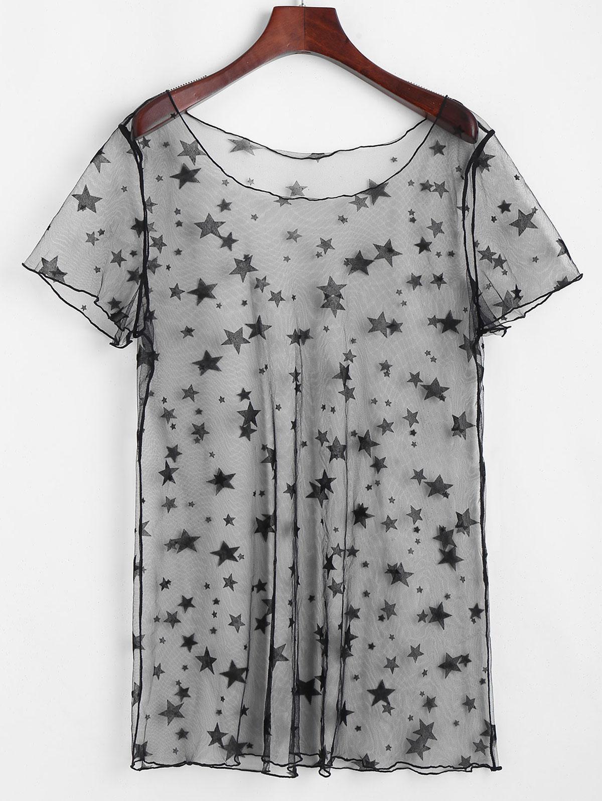 ZAFUL Star Lace See Thru Tunic Cover Up Dress