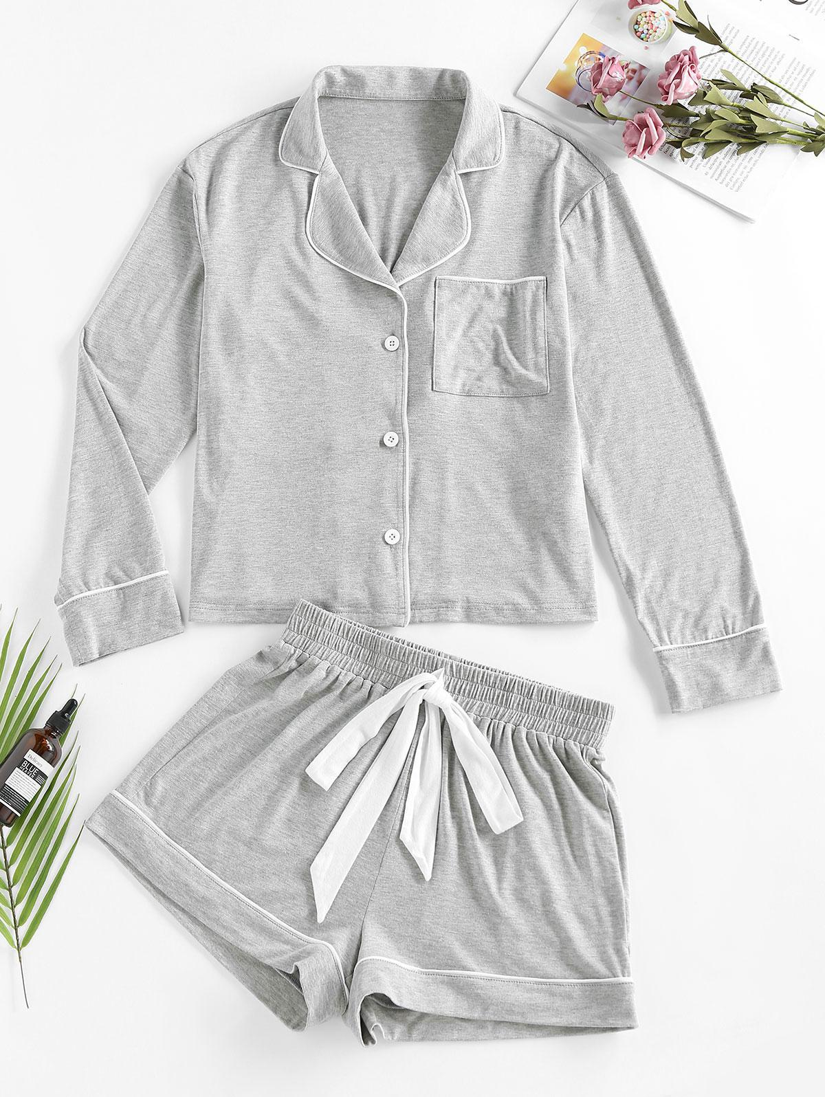 ZAFUL Contrast Piping Pocket Pajama Pants Set