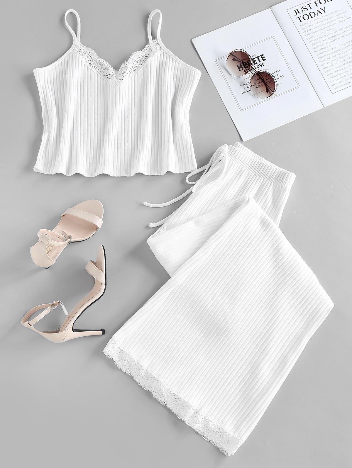 ZAFUL Ribbed Lace Insert Bowknot Pajama Shorts Set