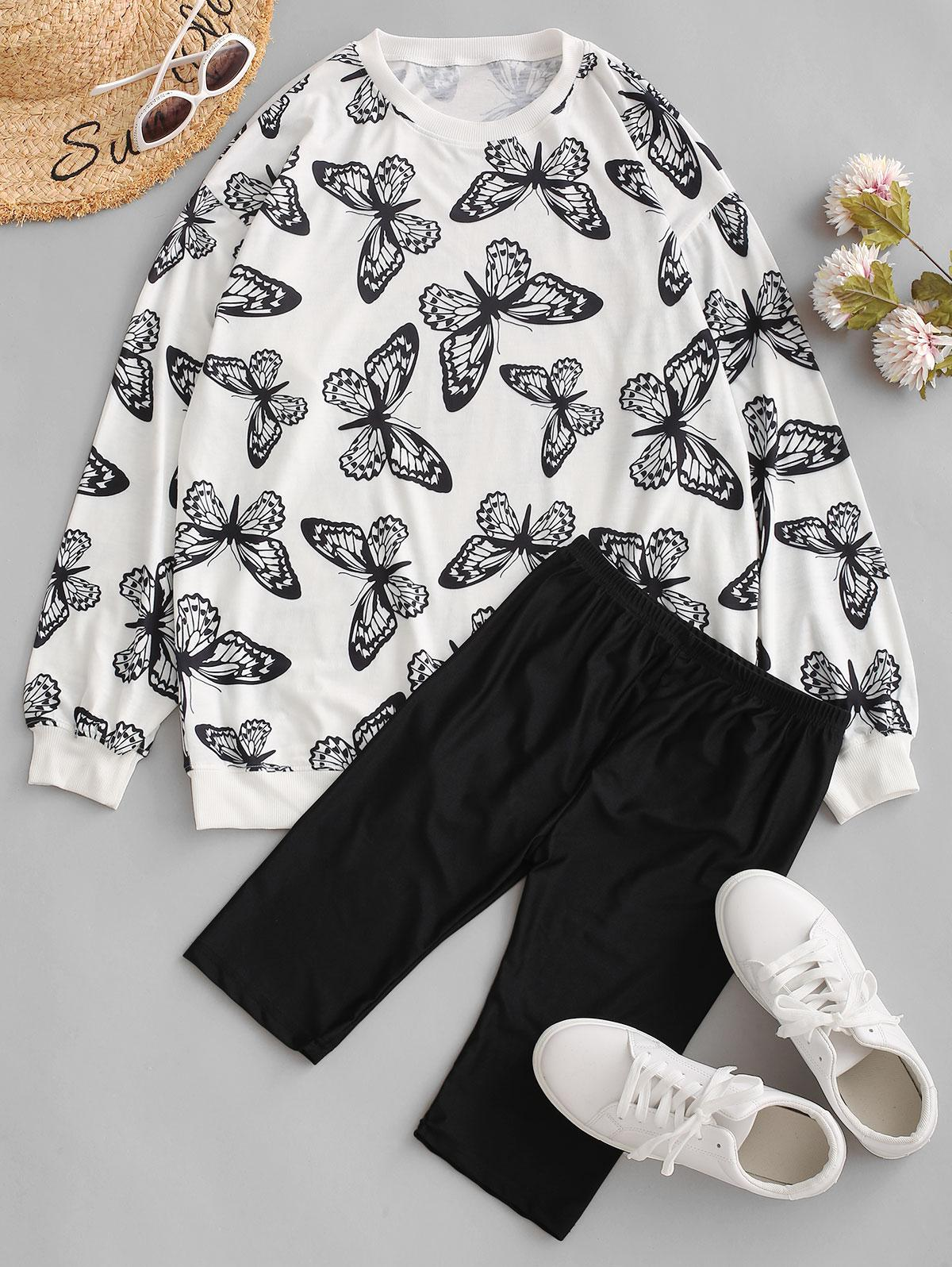 Drop Shoulder Butterfly Two Piece Biker Shorts Set