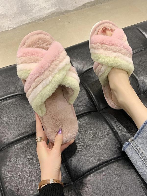 Cross Colorblock Plush Flat Slippers