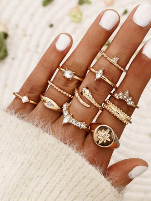 11 Pcs Bohemian Snake Star Ring Set