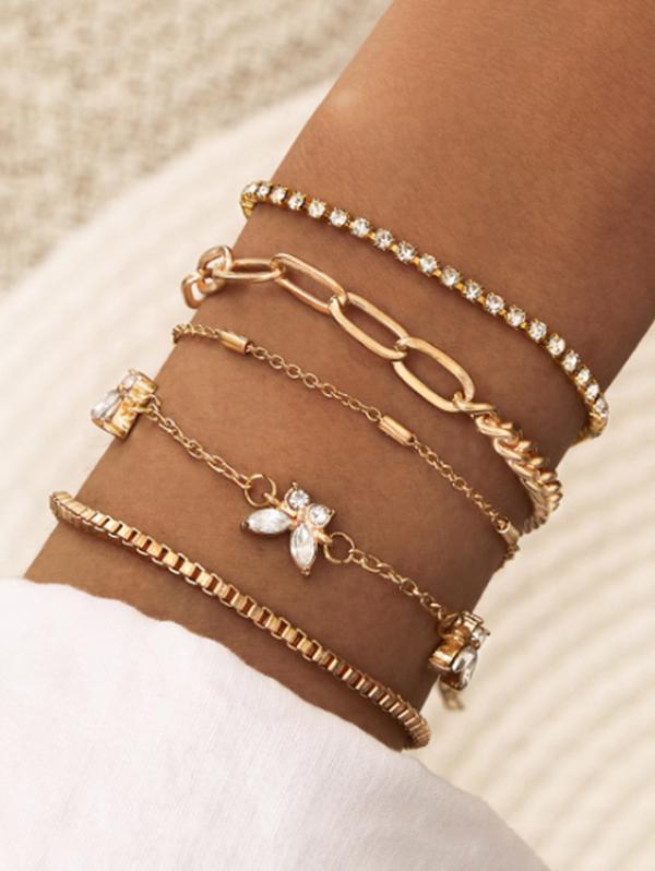 5Pcs Butterfly Chain Bracelet Set