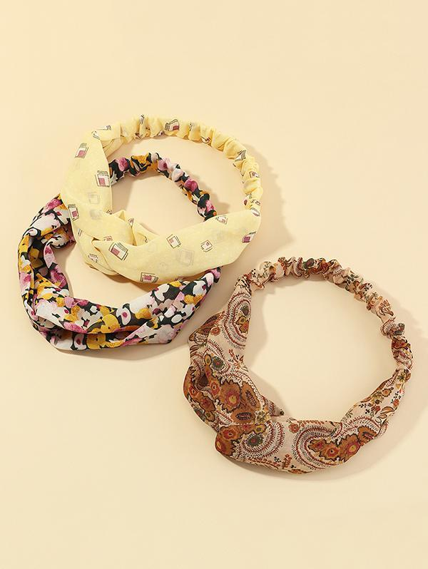 3Pcs Floral Print Headband Set