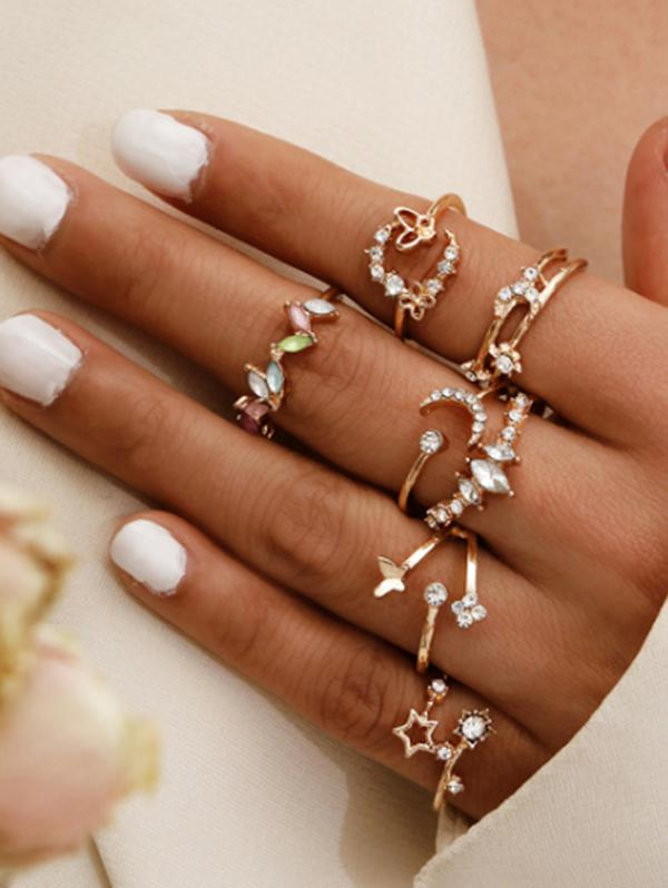 7Pcs Rhinestone Flower Star Ring Set