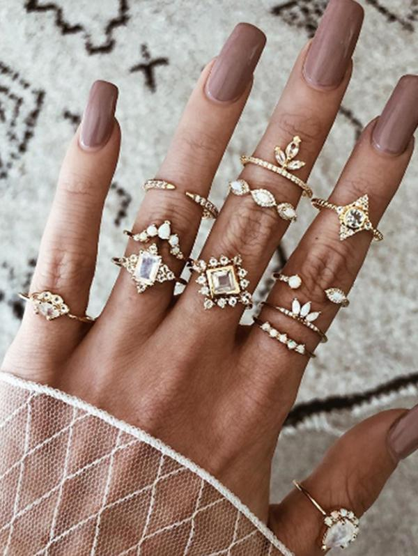 12 Pcs Geometric Rhinestone Ring Set