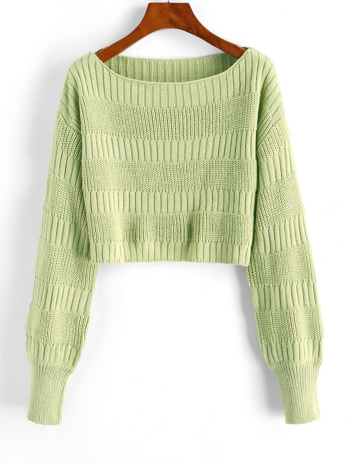 Plain Cropped Pullover Sweater