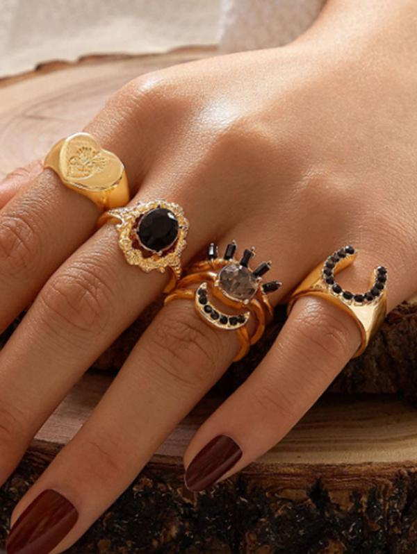 6Pcs Punk Heart U Shaped Ring Set