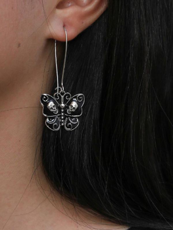 Gothic Skull Butterfly Pattern Earrings
