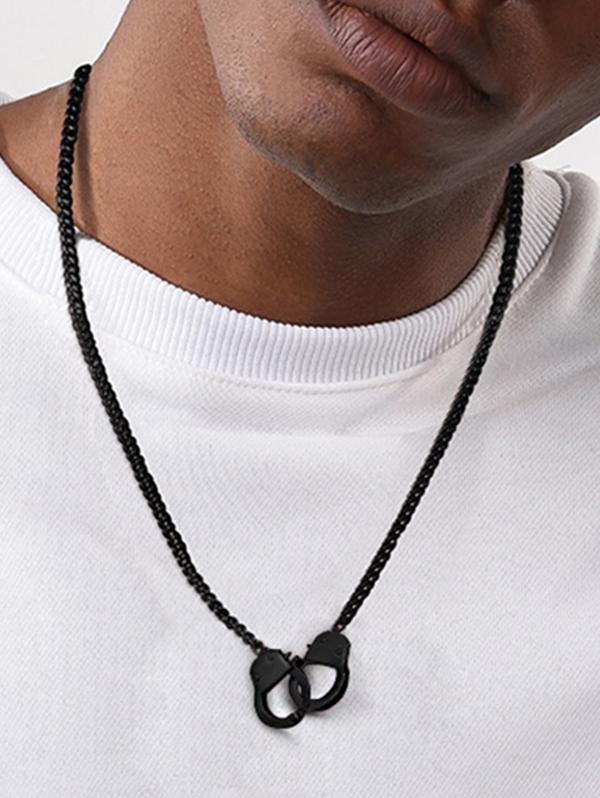 Black Gun Plated Handcuff Necklace