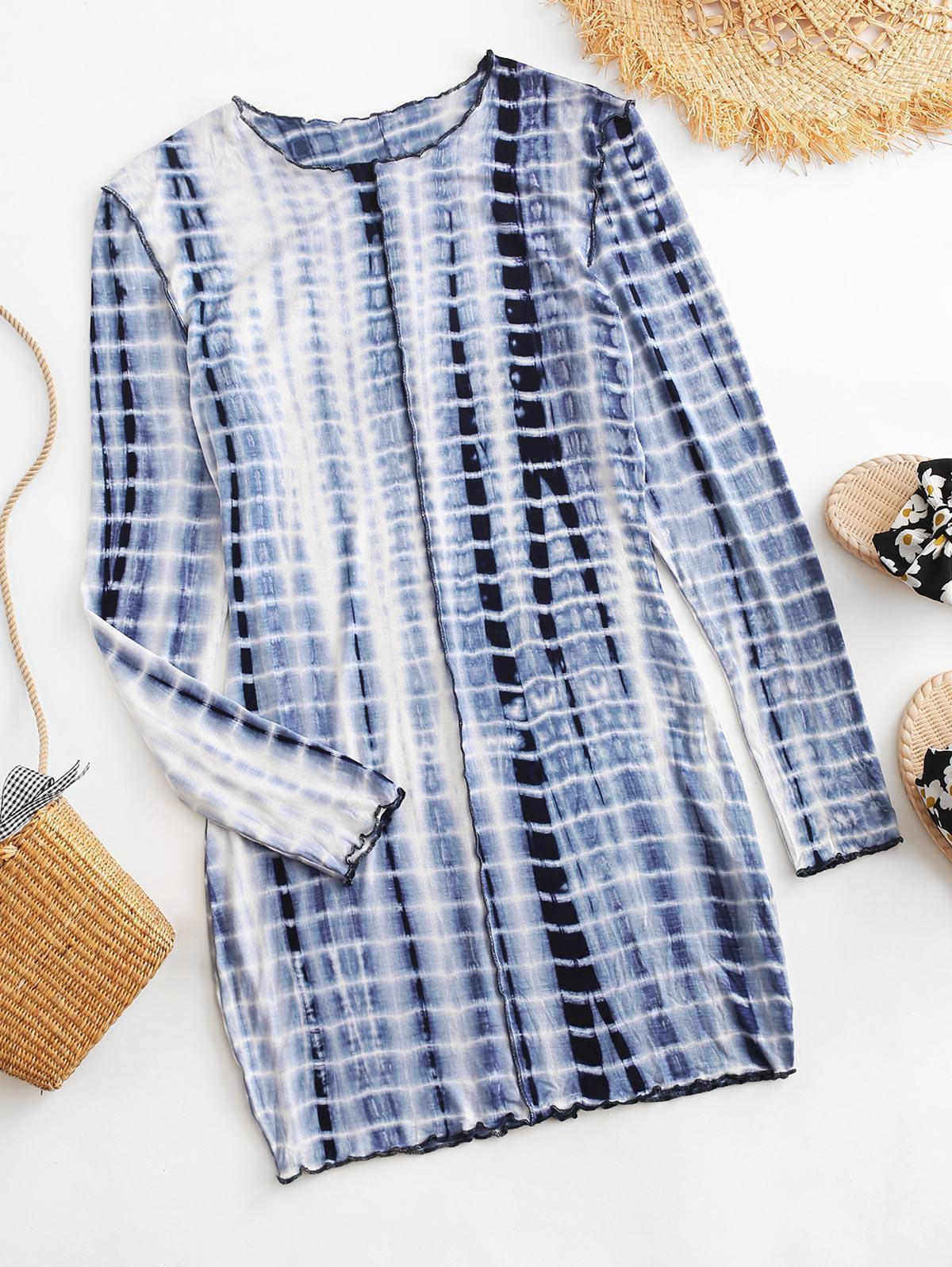 Long Sleeve Tie Dye Stitching Mini Dress