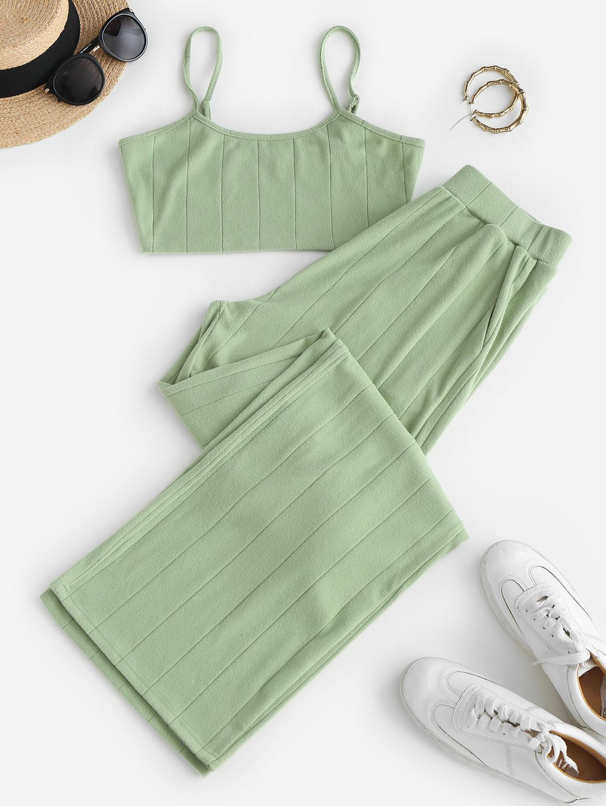 ZAFUL Cropped Cami Top and Wide Leg Pants Set
