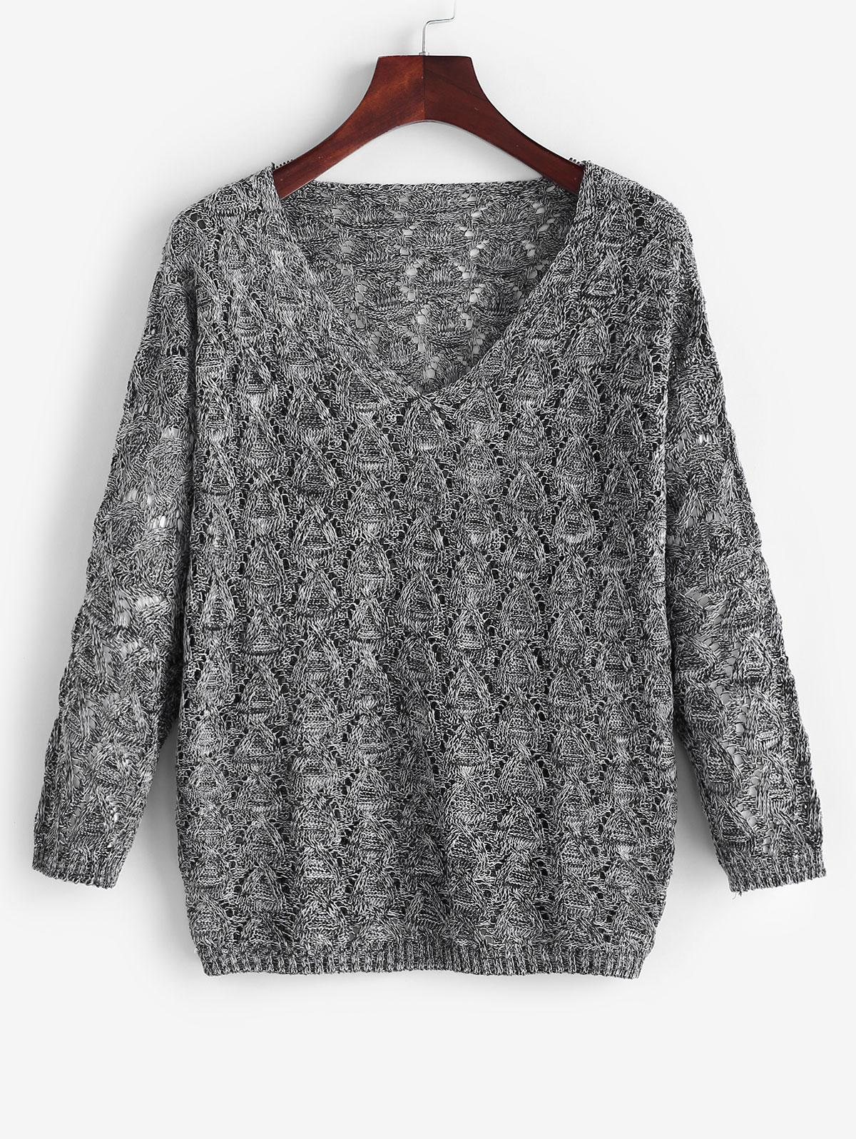 V Neck Openwork Drop Shoulder Sweater
