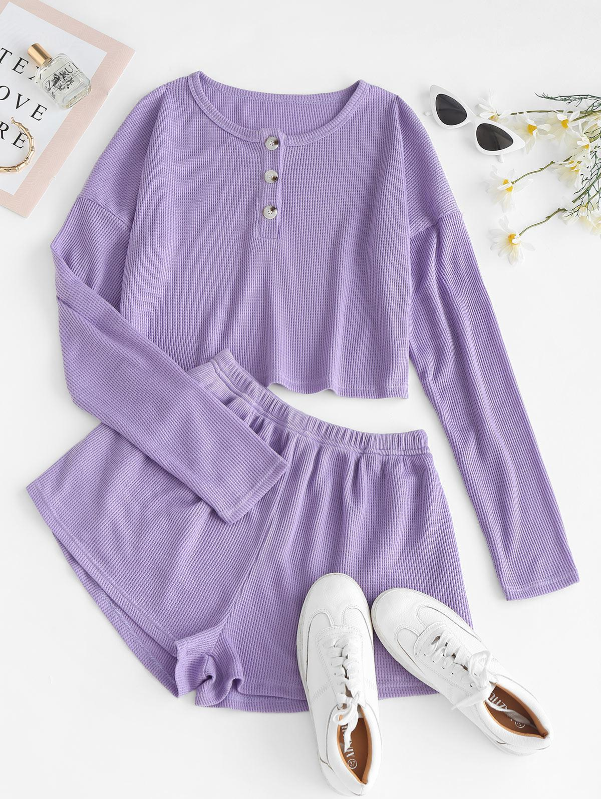 Lounge Knit Henley Two Piece Shorts Set