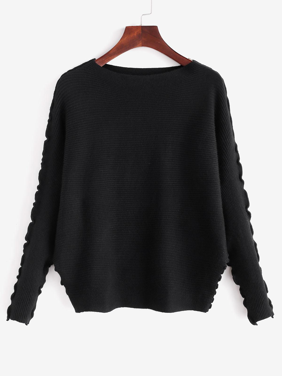 Solid Lettuce Trim Dolman Sleeve Sweater