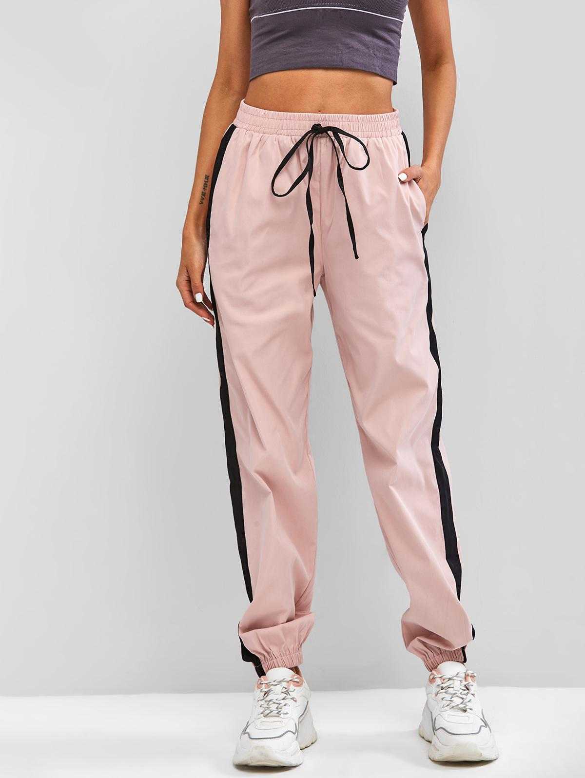 ZAFUL Contrast Trim Elastic Cuff Pants