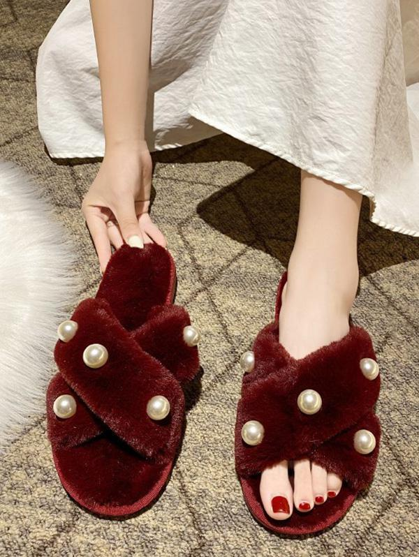 Cross Faux Pearls Plush Slippers