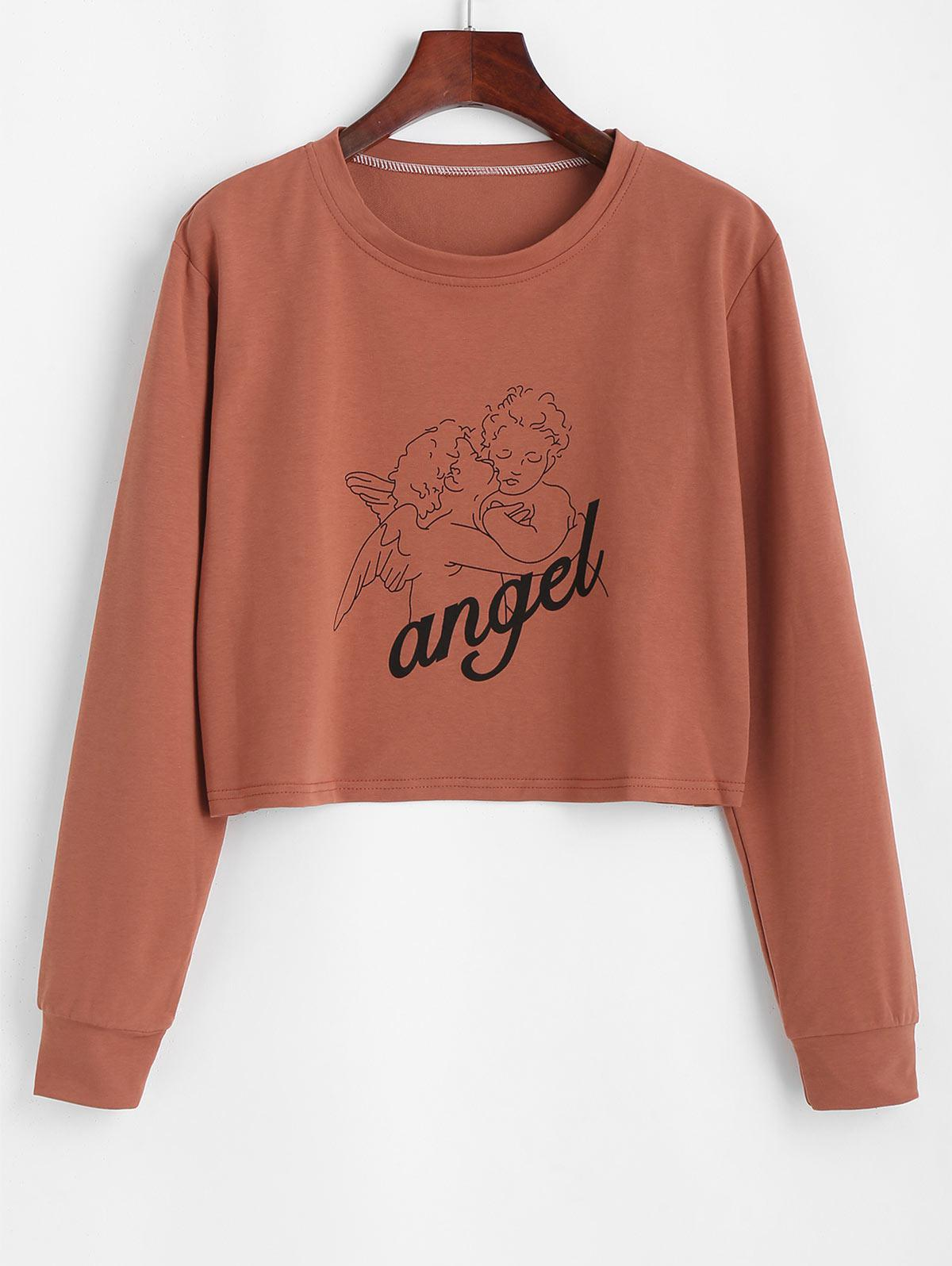 Cropped Angel Print Tee