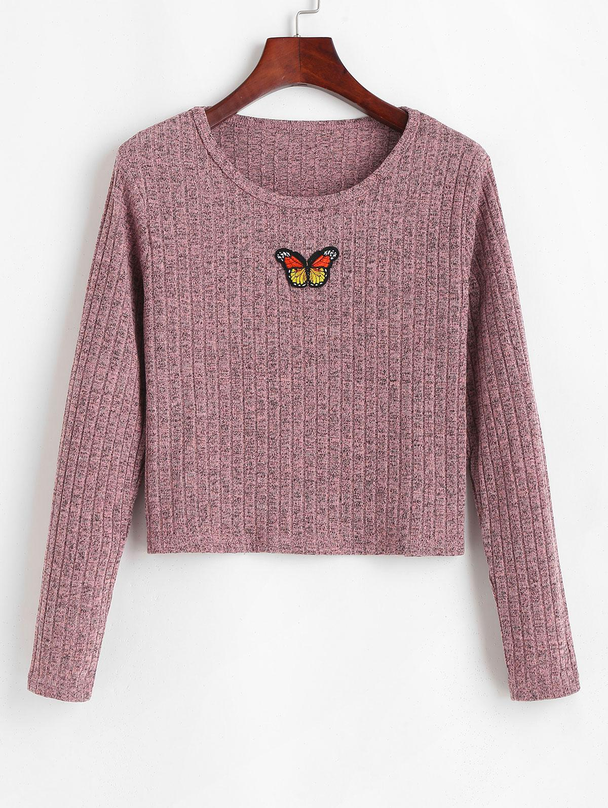 Ribbed Heathered Butterfly Patched Top