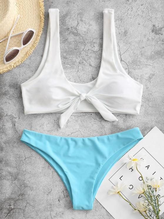 best Padded Knotted Bralette Bikini Set - BLUE AND WHITE S