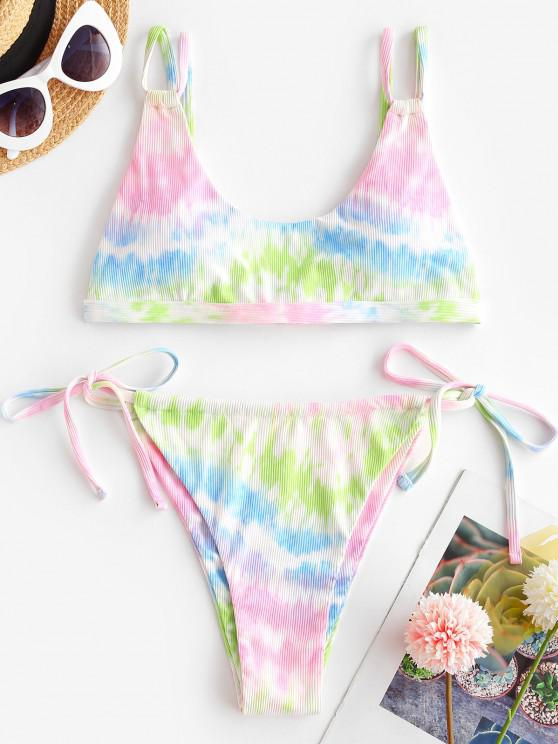 womens ZAFUL Tie Dye Ribbed Dual Straps Bikini Swimwear - MULTI M