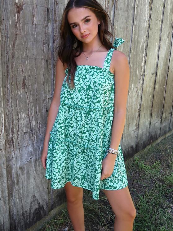 ladies Olivia Messler X ZAFUL Tie Ditsy Print Tiered Trapeze Sundress - GREEN L