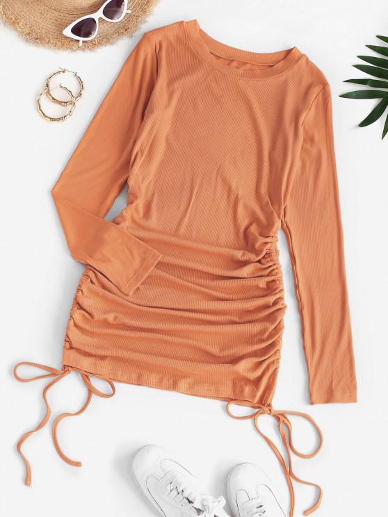 latest Drawstring Hem Ribbed Mini Bodycon Dress - LIGHT ORANGE XL