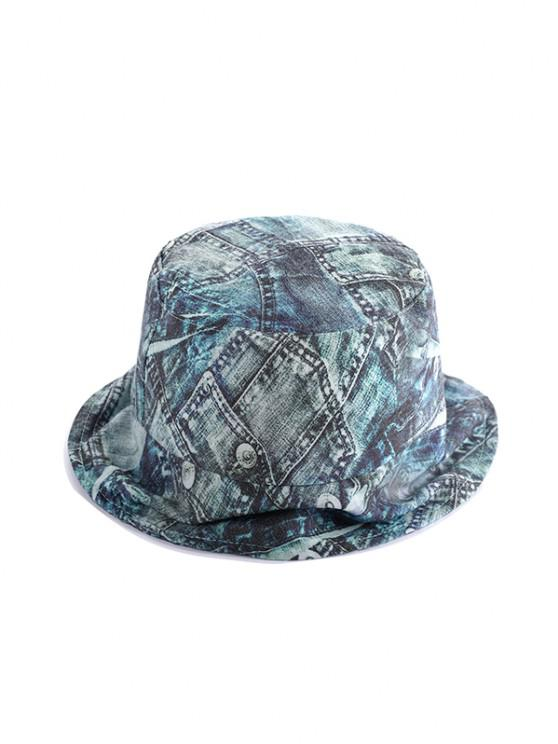 women Washed Denim Print Bucket Hat - MULTI-A