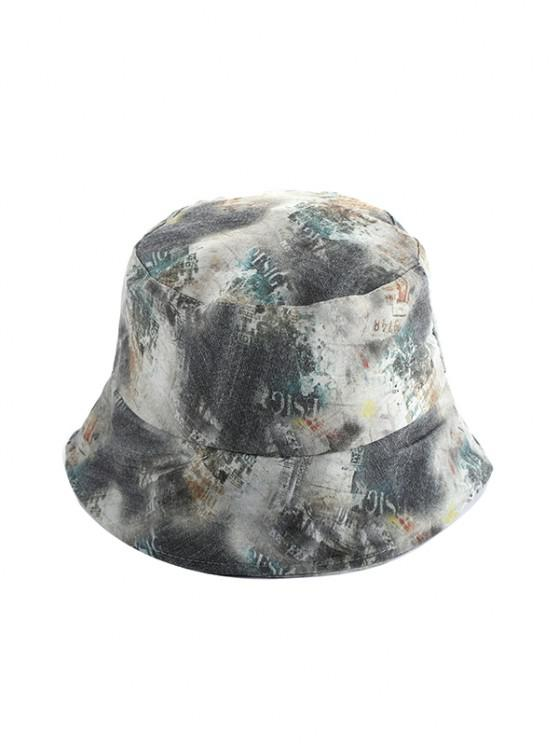 women's Washed Denim Print Bucket Hat - MULTI-B