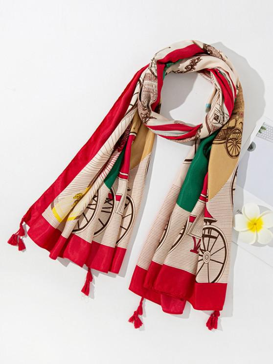 latest Colorblock Printed Tassel Scarf - RED