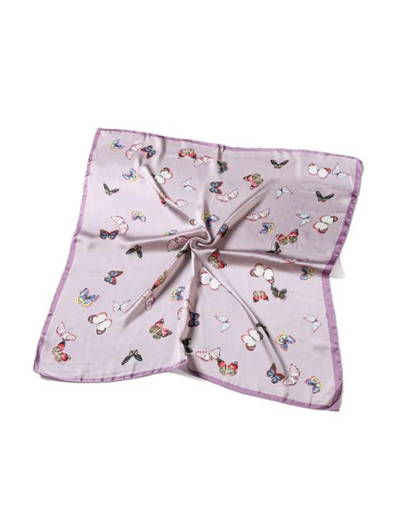 Butterfly Pattern Satin Square Scarf - زهري
