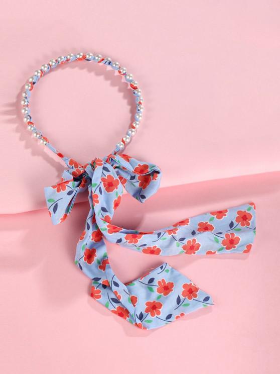 Floral Faux Pearl Ribbon Hairband - أزرق