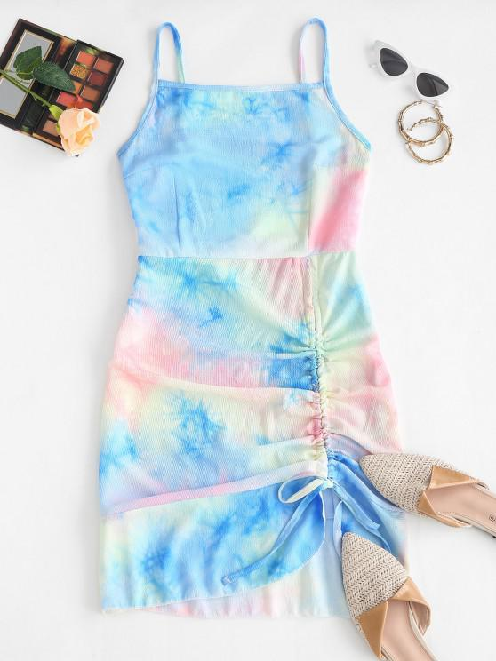 trendy Cami Asymmetrical Flame Zebra Tie Dye Cinched Dress - LIGHT BLUE S