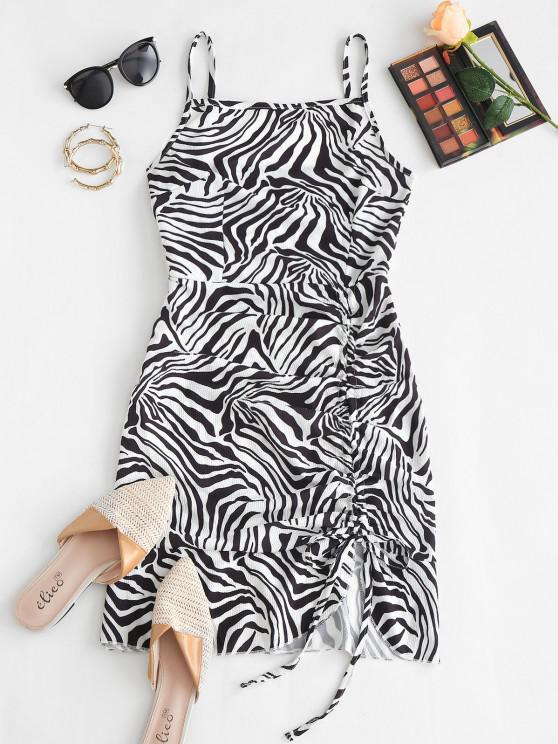 women Cami Asymmetrical Flame Zebra Tie Dye Cinched Dress - BLACK S