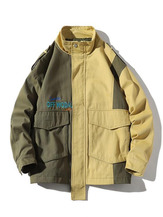 Letter Embroidery Two Tone Jacket - الجيش الأخضر L