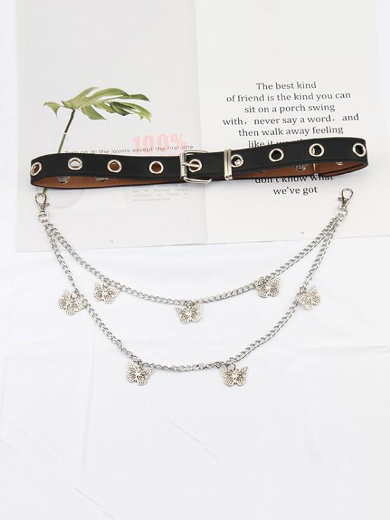 Layered Chain Butterfly Pendant Belt - متعددة-A