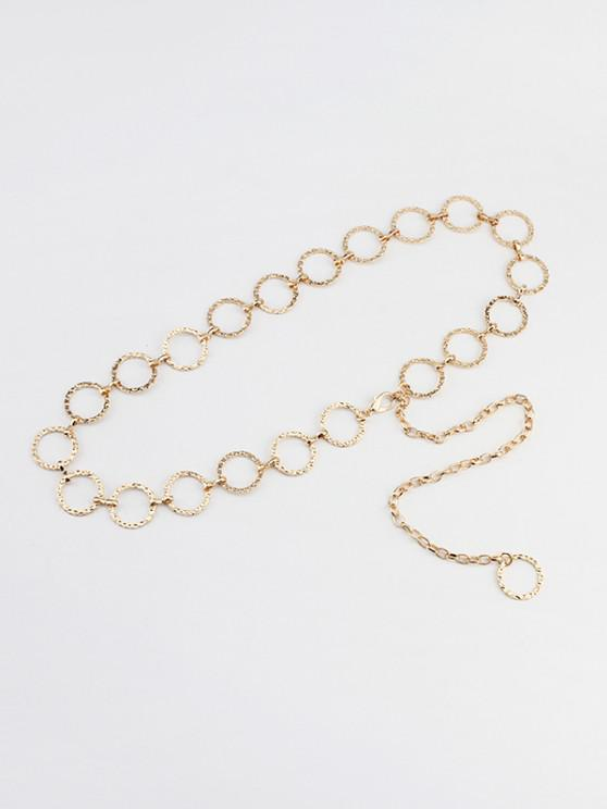 shops Textured Hollow Circle Waist Chain - GOLDEN