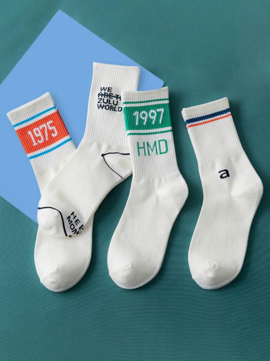 buy 4Pairs Letters Sports Crew Socks Set - MULTI-A