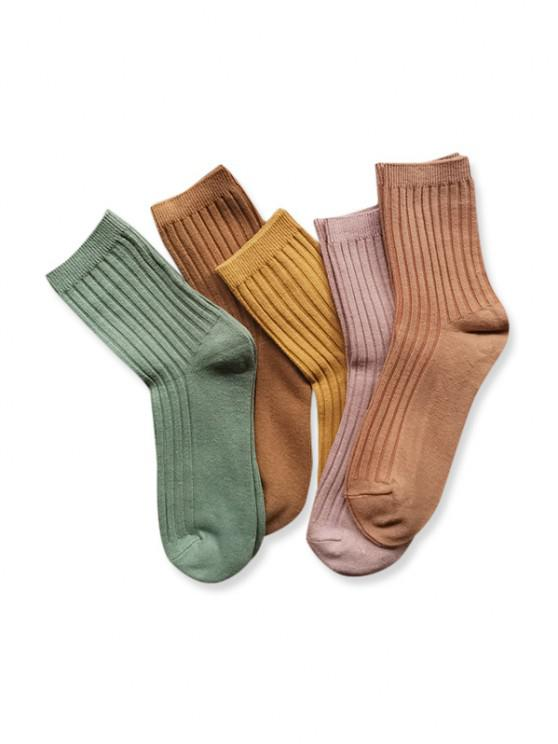 women 5 Pairs Winter Ribbed Crew Socks Set - MULTI