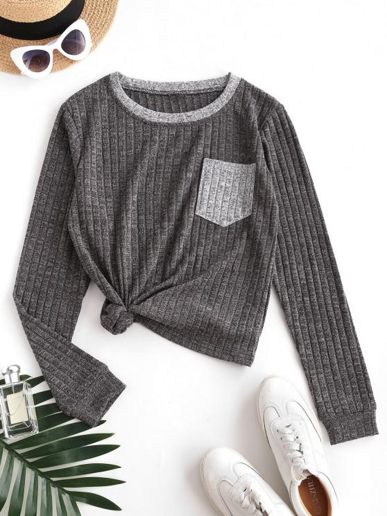 chic Heathered Ribbed Front Pocket Top - GRAY S