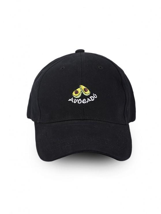 trendy Embroidery Avocado Pattern Baseball Cap - BLACK