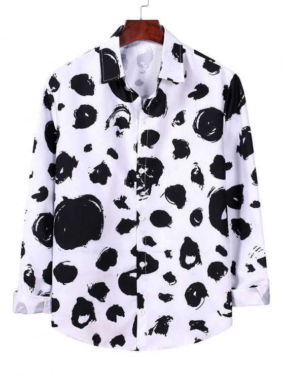 hot Button Down Allover Print Shirt - WHITE L