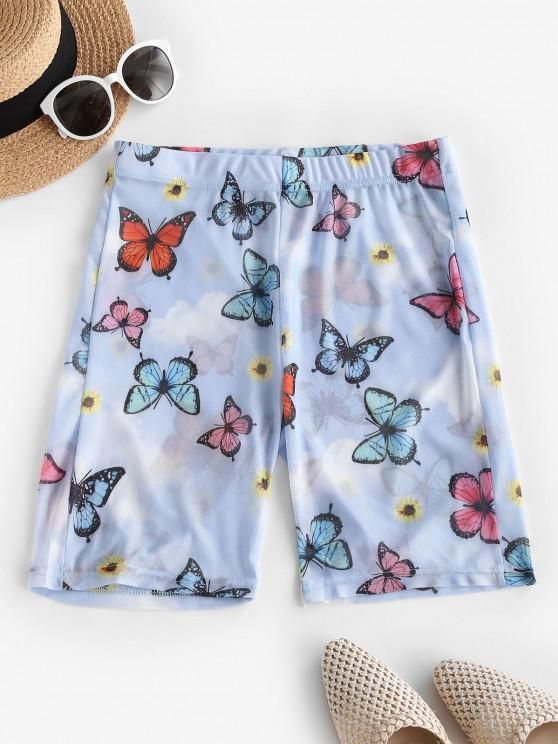 unique Sheer Mesh Butterfly Sunflower Biker Shorts - MULTI-A XL
