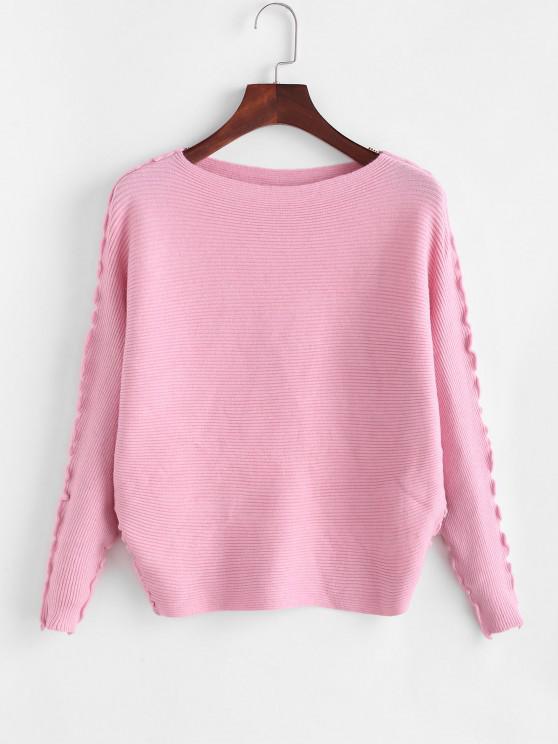 Solid Lettuce Trim Dolman Sleeve Sweater - وردي فاتح حجم واحد