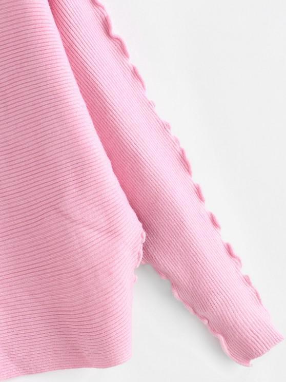 Solid Lettuce Trim Dolman Sleeve Sweater - Light Pink | ZAFUL