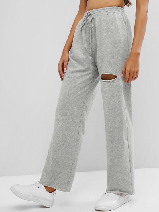 hot ZAFUL Knee Ripped High Waisted Pocket Straight Pants - GRAY XL