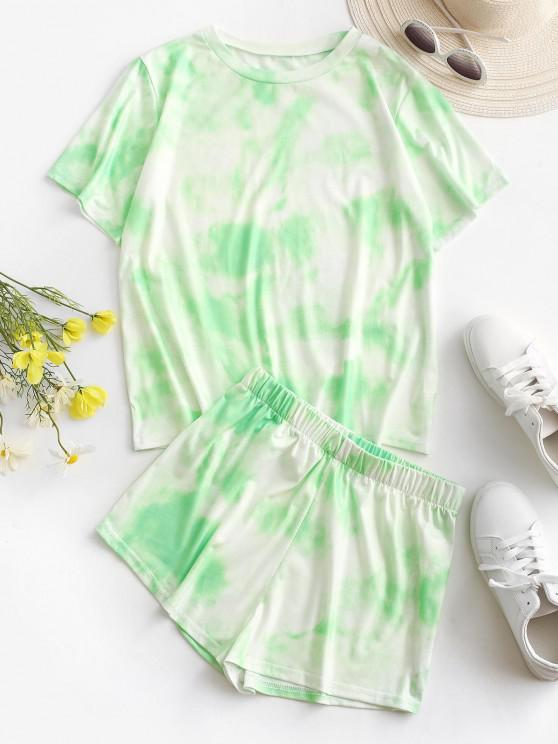 lady Tie Dye Lounge Two Piece Set - LIGHT GREEN S