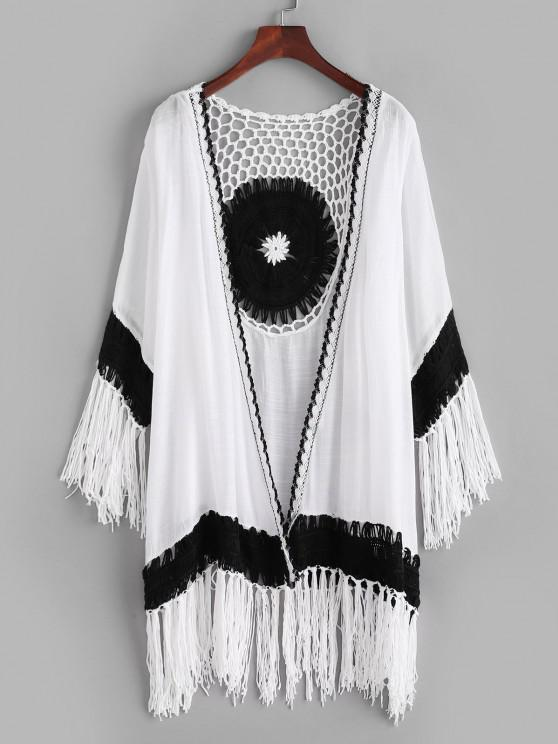 outfit Bicolor Crochet Tassel Collarless Cover Up - WHITE ONE SIZE