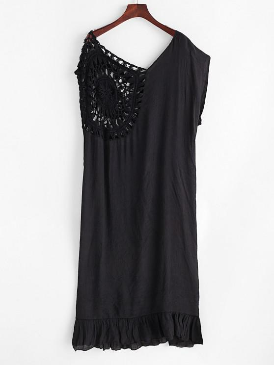 chic Ruffled Hem Crochet Panel Solid Cover Up Dress - BLACK ONE SIZE