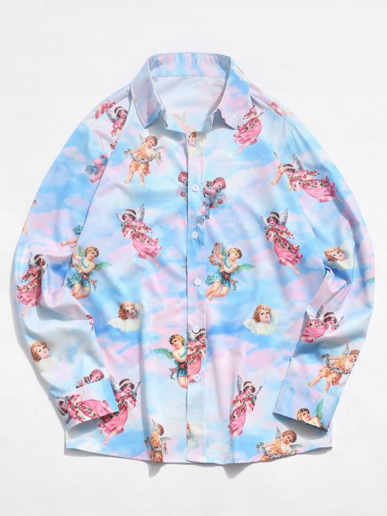 women's Button Up Angel Print Renaissance Art Shirt - LIGHT BLUE XL